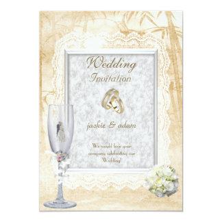 Anéis florais Wedding do laço antigo branco do Convite 12.7 X 17.78cm