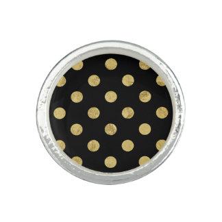 Anéis Teste padrão de bolinhas elegante da folha de ouro