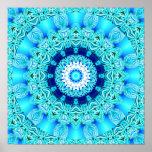 Anel azul do anjo do gelo, mandala abstrata posteres