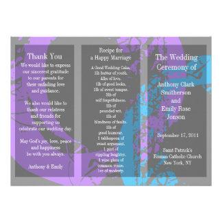 Anel azul roxo do folheto do programa do casamento convites personalizado