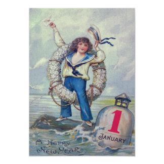 Anel bonito do lance da bóia do marinheiro da convite 12.7 x 17.78cm