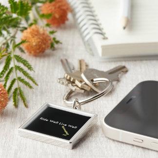 Anel chave quadrado com slogan chaveiro quadrado na cor prata