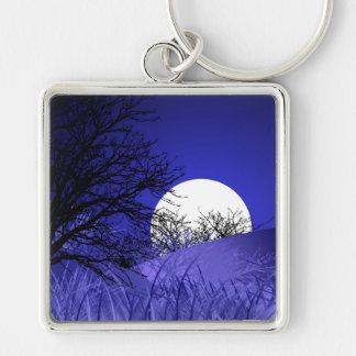 Anel chave superior da Lua cheia Chaveiro Quadrado Na Cor Prata