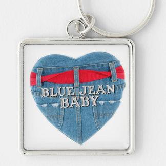 Anel chave superior do bebê azul de Jean Chaveiro Quadrado Na Cor Prata