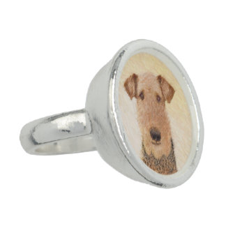 Anel Com Foto Airedale Terrier