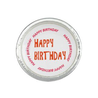 Anel Com Foto círculo do rosa do feliz aniversario do
