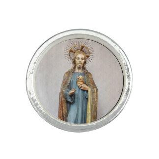 Anel Com Foto Jesus que guardara o coração sagrado dourado