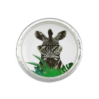 Anel Com Imagem Animal do estilo da zebra do hipster