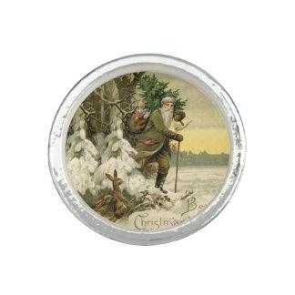 Anel Com Imagem Antiguidade da árvore do natal vintage do papai
