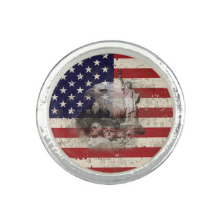 Anel Com Imagem Bandeira e símbolos dos Estados Unidos ID155