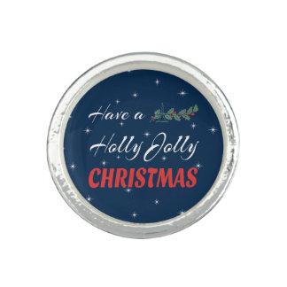 Anel Com Imagem Tenha um Natal alegre do azevinho