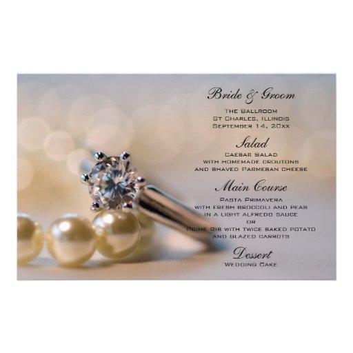 Anel de diamante e pérolas que Wedding o menu Papeis Personalizados