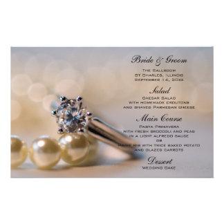 Anel de diamante e pérolas que Wedding o menu Papelaria