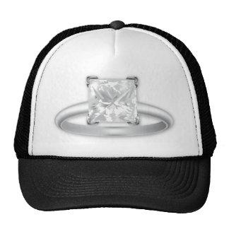 Anel de diamante quadrado boné