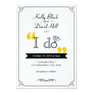"""Anel de diamante simples """"eu faço"""" convites do convite 12.7 x 17.78cm"""