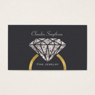 Anel de noivado fino do cartão de visita da jóia
