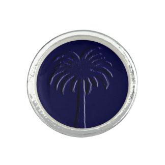 Anel Design azul da palma do Palmetto