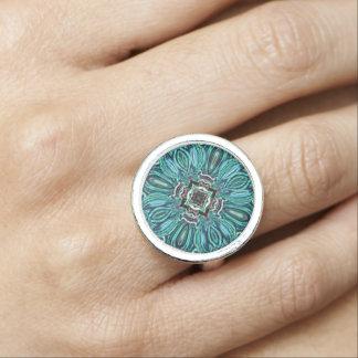 Anel Design de vidro abstrato do efeito da jóia