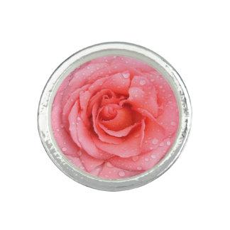 Anel Gotas cor-de-rosa românticas da água cor-de-rosa