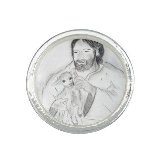 Anel Jesus com cordeiro