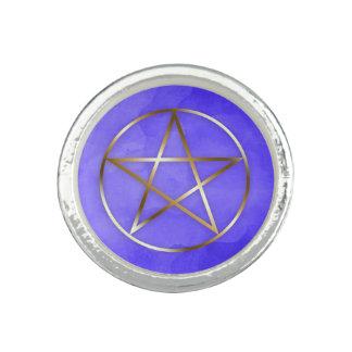 Anel oculto da estrela do Pentagram do ouro