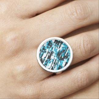 Anel Soe o digitalart abstrato azul e preto quente G253