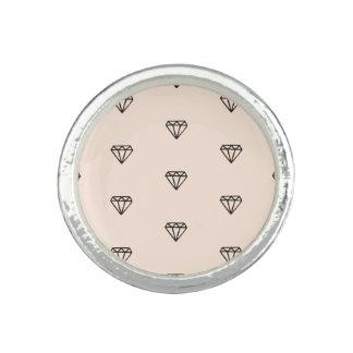 Anel Teste padrão chique bonito do rosa do diamante