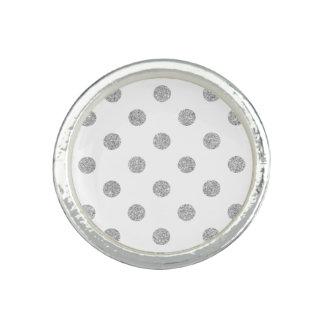 Anel Teste padrão de bolinhas de prata elegante do