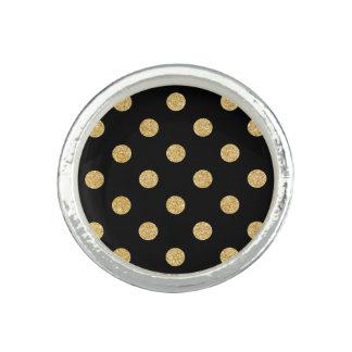 Anel Teste padrão de bolinhas elegante do brilho do