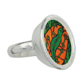 Anel Verde e laranja do geco