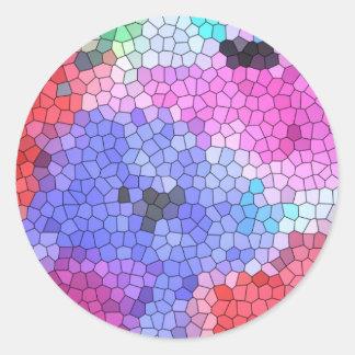 Anêmonas do mosaico do vitral do © P Wherrell na s Adesivo Redondo