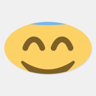 Angel Emoji Adesivo Oval