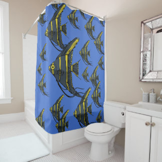 Angelfish cinzento & amarelo cortina para box