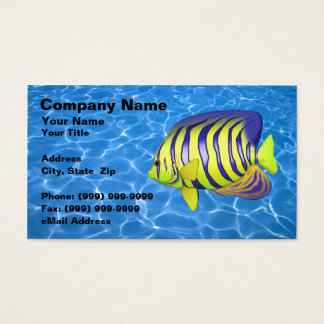 Angelfish contra a água azul clara cartão de visitas