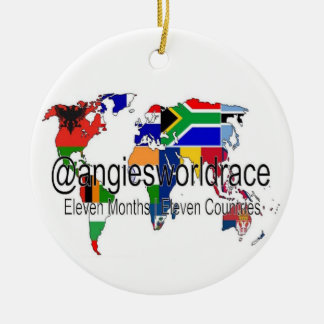 "@angiesworldrace 15"" ornamento do círculo - branco"