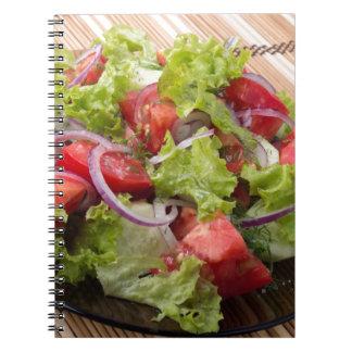 Ângulo de vista em um fragmento da salada do caderno