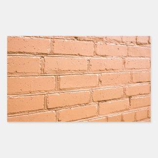 Ângulo de vista na parede de tijolo adesivo retangular