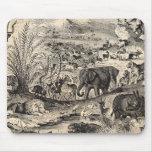 Animais animais africanos da ilustração dos 1800s  mouse pads