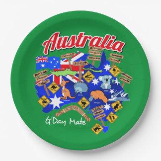 Animais australianos e lugar prato de papel