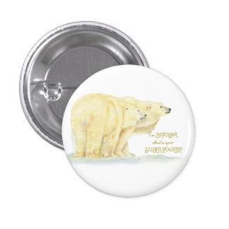 Animais bipolares do urso polar das citações do hu bóton redondo 2.54cm