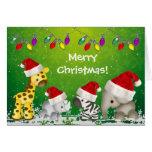 Animais bonitos do safari no cartão de Natal dos
