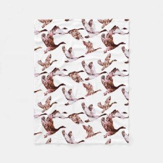 Animais cor-de-rosa empoeirados das aves aquáticas cobertor de lã