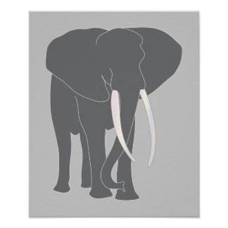 Animais da arte dos desenhos animados do elefante pôsteres