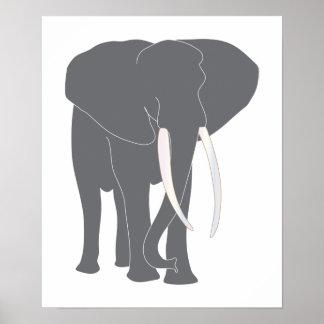 Animais da arte dos desenhos animados do elefante poster