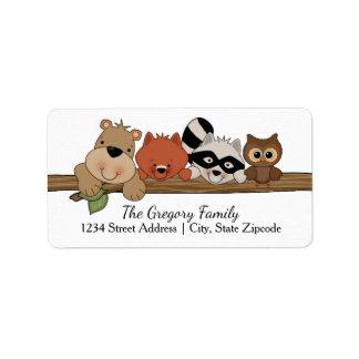 Animais da floresta do │ das etiquetas de endereço