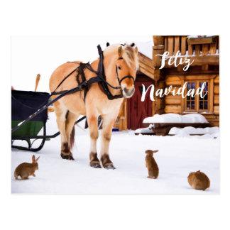 Animais da neve do idyll do país do Natal de Feliz Cartão Postal
