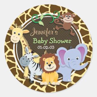 Animais da selva no impressão animal do girafa de adesivos redondos