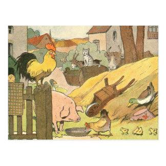 Animais de fazenda do livro da história das cartão postal