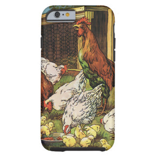 Animais de fazenda do vintage, galo, galinhas, capa tough para iPhone 6