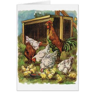 Animais de fazenda do vintage, galo, galinhas, cartões